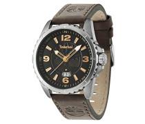 Timberland Walden Herren Digitale Armbanduhr mit schwarzem Zifferblatt Analog-Anzeige und braunem Lederband 14531js/02