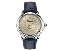 Salvatore Ferragamo Time Herren Automatikuhr mit Zifferblatt und blauem Lederband FFT010016