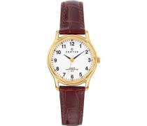646231 Damen-Armbanduhr, Quarz, Analog, Zifferblatt weiß, braunes Lederarmband