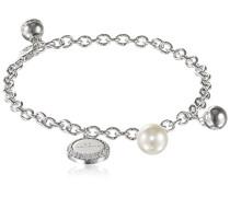 Rebecca Damen-Armband Hollywood Vergoldet rhodiniert Zirkonia weiß Synthetische Perle Weiß 17.0 cm - BHOBBB01