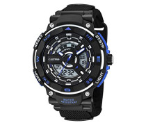 Calypso Herren Armbanduhr mit LCD-Zifferblatt Analog Digital Display und schwarz Kunststoff Gurt k5673/5