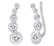Damen-Ohrstecker Earcuff 925 Silber weiß Brillantschliff Kristall - 0309230916