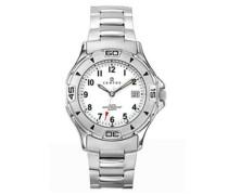 –616801–Armbanduhr–Quarz Analog–Weißes Ziffernblatt–Armband Stahl Silber