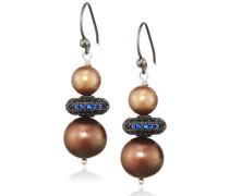 -  925 Sterling-Silber  Silber Rundschliff  China-Zuchtperle braun Perle Cubic Zirconia