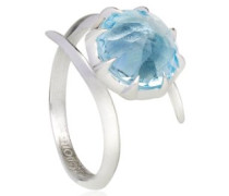 - FINERING 925 Sterling-Silber  Sterling-Silber 925 Rundschliff   blau Blautopas