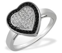 Damen-Ring Herz 925 Sterlingsilber 64 schwarz-weisse Zirkonia
