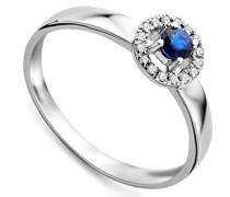 Damen-Ring 9 Karat (375) Weißgold 0.15ct Blau Safir umrähmt von 0.5ct Brillanten
