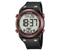 Unisex Armbanduhr Digitaluhr mit LCD Zifferblatt Digital Display und schwarz Kunststoff Gurt k5705/3