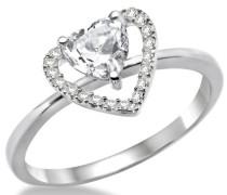 Miore Damen-Ring 925 Sterlingsilber hochglanzpoliert Zirkonia Herz MPS024RP