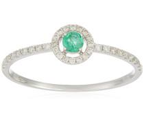 Damen-Ring 9 Karat Weißgold, Smaragd-badm 07087-0001