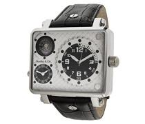 Herren Metropolitain Kingsize Collection Quarz Armbanduhr mit zwei Zeitzonen und eckigem Gehäuse - Analoge Anzeige - Kompass - Lederarmband Gehäuse aus Edelstahl Größe XL - OZG1135-BC