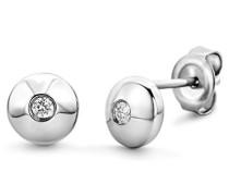 Miore Damen-Ohrstecker Sterling Brillantschliff 925 Silber rhodiniert Diamant (0,06 ct) weiß Rundschliff - MGS001E