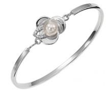 D12003ZW Lotus Flower Women'- Armband Edelstahl mit Zirkonia und Perlen