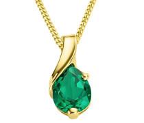 Kette Damen, Schmuck Gelbgold, Halskette mit grün Smaragd Tropfenschliff Anhänger  9 Karat / 375 Gold 45 cm