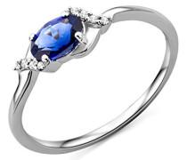 Damen-Ring 9 Karat (375) weißgold  Saphir und Brillanten, Größe  55 SA9039RO