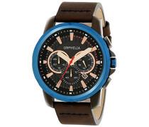 Herren-Armbanduhr Chronograph Quarz Leder 81501