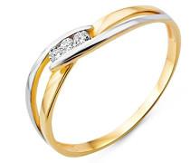 Damen Ring 9 Karat (375) Bicolor Brillanten