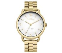 Damen Quarzuhr mit weißem Zifferblatt Analog-Anzeige und Gold Legierung Armband fo023gm