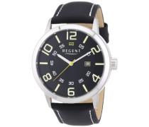 Regent Herren-Armbanduhr XL Analog Quarz Leder 11110657