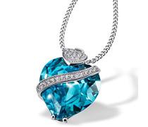 Damen-Herzkette 925 Sterlingsilber mit aquamarin farbiger Zirkonia im Brillantschliff