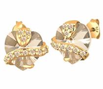 Damen Ohrstecker Herz 925 Sterling Silber mit Swarovski Kristallen von Swarovski Herzschliff gold 0311271414