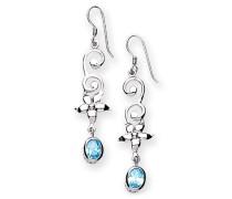 Ohrhänger Sterling-Silber 925 Zirkonia blau Ohrhänger, rhodiniert, Finish