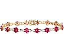 Damen-Armband Edelstein Blumen 375 Gelbgold Rubin rot rundschliff Diamant 185 cm