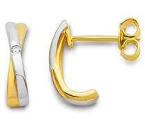 Damen-Ohrringe 9 Karat (375) Weiß-/Gelbgold 2 Brillanten