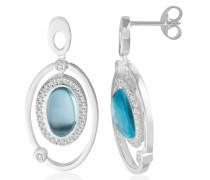 Damen-Ohrringe 925 Sterling Silber Blau Topas umrahmt von Zirkonia MHS004E