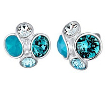 Damen-Ohrstecker 925 Silber Swarovski Kristall blau Brillantschliff - 0303320816
