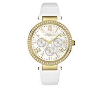 Caravelle New York Damen-Armbanduhr CRYSTAL Analog Quarz Leder 44N104