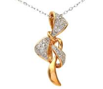 Damen-Halskette 9 Karat 375 Weißgold Diamant (0,13 ct) weiß Rundschliff 46 cm DP1117RW