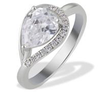 Damen-Ring PremiumShine Tropfen 925 Sterlingsilber 14 Zirkonia