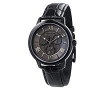 Cornwell Sweep Second Retrograde ES-8060-06 Herren-Armbanduhr mit Quarzuhrwerk, graues Zifferblatt mit klassischer Analoganzeige, schwarzes Lederarmband