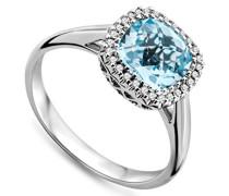 Damen-Ring  750 Weißgold Blau Topas umrahmt von Brillanten 0.08ct MMT006RR