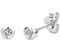 Damen Ohrstecker 9 Karat / Dezente Ohrstecker aus 375 Weißgold mit 2 weißen Diamanten mit 0,10 ct. / Ohrschmuck klein Ø 3.5 mm