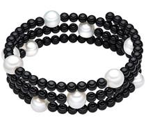Classic Collection Damen-Armband elastisch Hochwertige Süßwasser-Zuchtperlen in ca.  8 mm Rund weiß    Onyx 50 cm   60200802