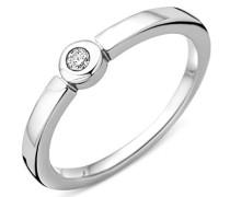 Damen-Ring Verlobung Solitär 925 Silber rhodiniert Diamant (0.05 ct) weiß Rundschliff - MSAE087DR56