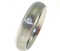 Unisex-Ring You and me Titan Diamant (0.03 ct) weiß Brillantschliff