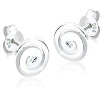 Damen Ohrhänger Spirale 925 Sterling Silber Swarovski Kristall Brillantschliff 304820312