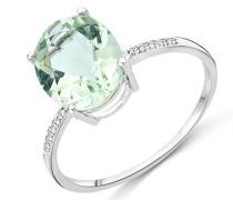 Damen-Ring 375 Weißgold rhodiniert Amethyst grün Ovalschliff Diamant (0.035 ct)