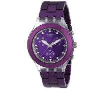 Swatch Damen-Armbanduhr Full Blooded Blueberry Damen-Chrono SVCK4048AG