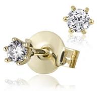 Damen-Ohrstecker 585 Gelbgold 2 Diamanten 0,10 ct. Ohrringe Brillanten Schmuck