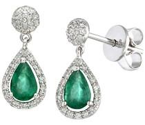 18k Weißgold 0,25k Diamanten mit tränenförmigen Smaragd Ohrringen