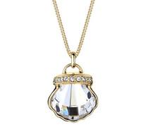 Damen Halskette Muschel 925 Sterling Silber Swarovski Kristalle vergoldet 0111150816