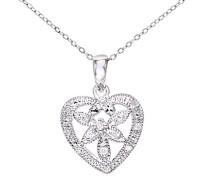 Damen-Halskette 9 Karat 375 Weißgold Diamant 0,05 ct weiß 46 cm PP03055W