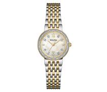 Diamond 98W211 - Damen Designer-Armbanduhr - Stahl & Perlmutt - Zweifarbig mit Goldfarbe