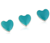 Jewelry Damen-Charm Messing Druckknopf aus der Serie Snap versilbert,türkis 1 cm 431320007