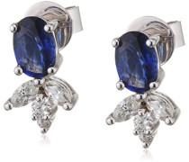 Damen-Ohrhänger 750 Weißgold Diamant und Saphir 0,33 ct blau Ovalschliff