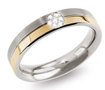 Damen-Ring Titanium Titan teilvergoldet Diamant (0.035 ct) transparent Brillantschliff